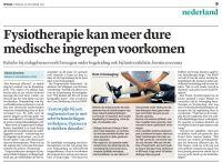 Trouw: Fysiotherapie bespaart medische kosten - Fysiotherapie Leiden